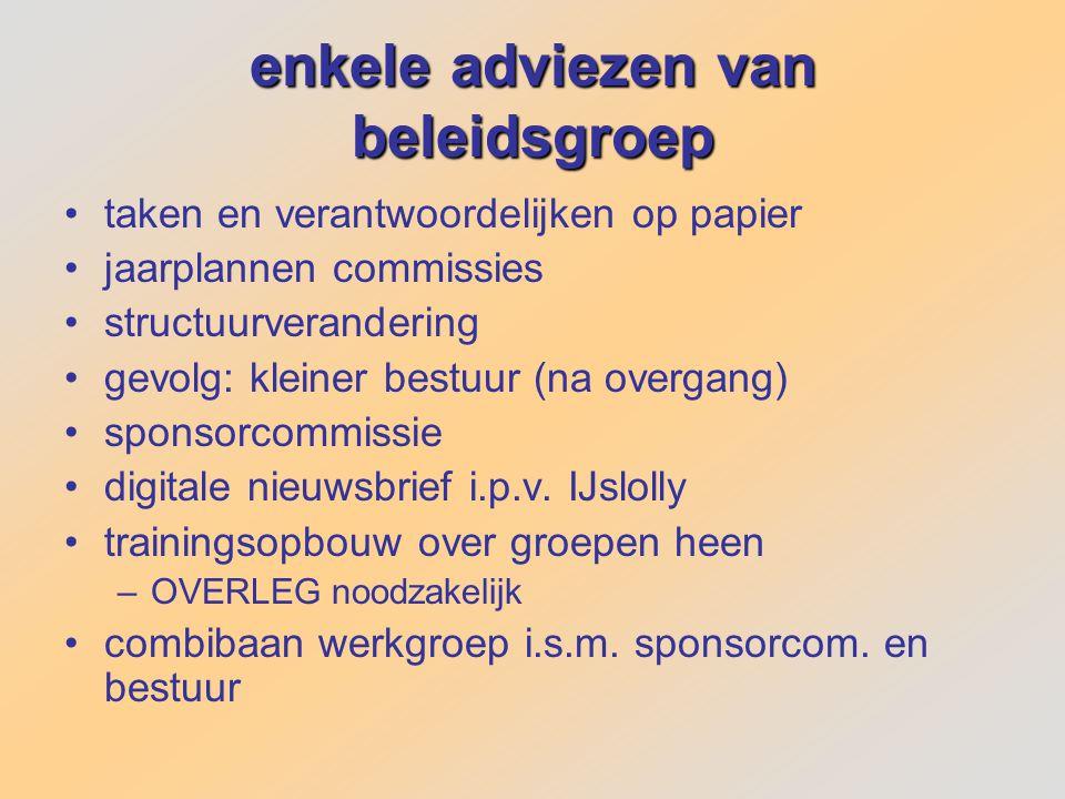 enkele adviezen van beleidsgroep taken en verantwoordelijken op papier jaarplannen commissies structuurverandering gevolg: kleiner bestuur (na overgan