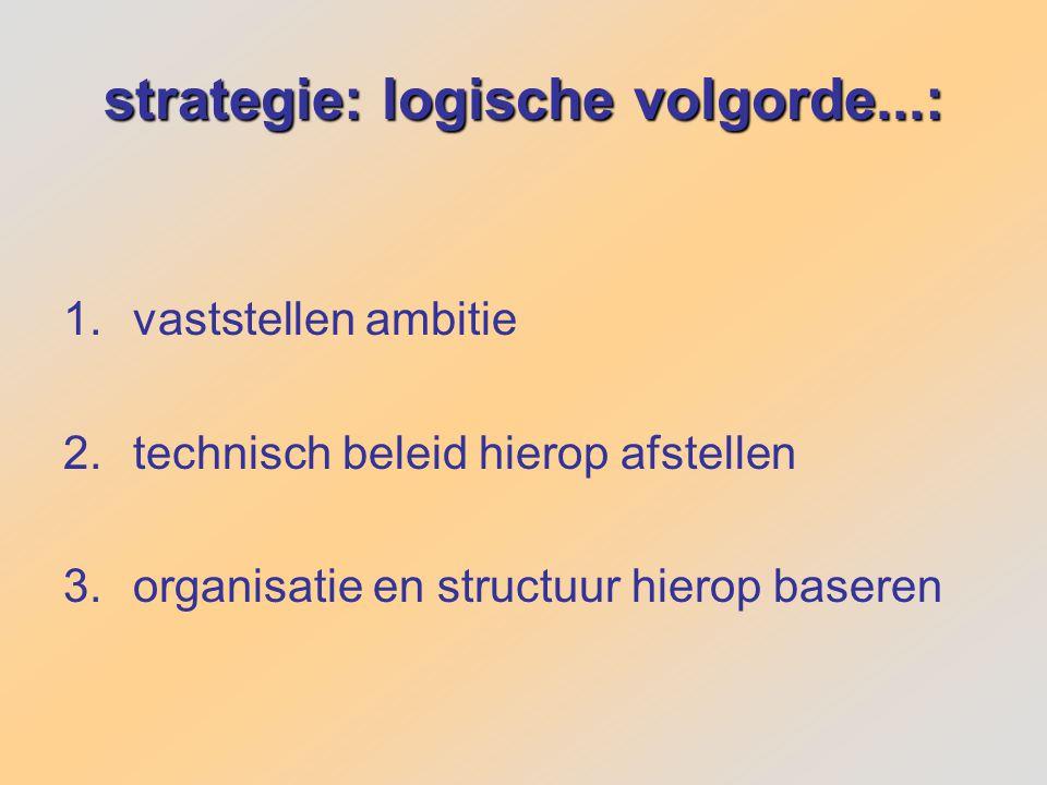 strategie: logische volgorde...: 1.vaststellen ambitie 2.technisch beleid hierop afstellen 3.organisatie en structuur hierop baseren