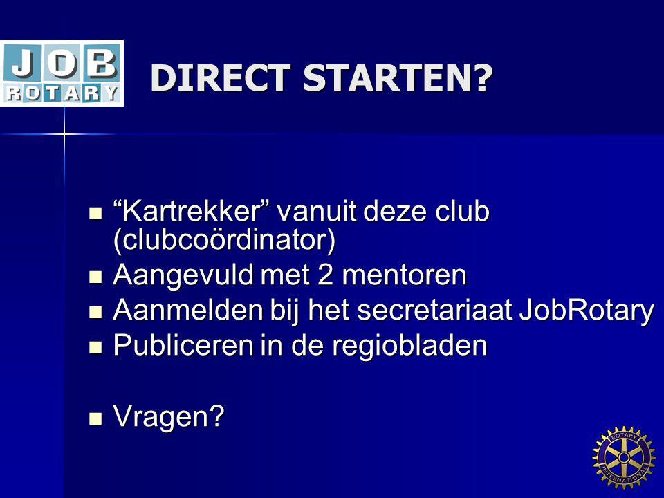"DIRECT STARTEN? DIRECT STARTEN? ""Kartrekker"" vanuit deze club (clubcoördinator) ""Kartrekker"" vanuit deze club (clubcoördinator) Aangevuld met 2 mentor"