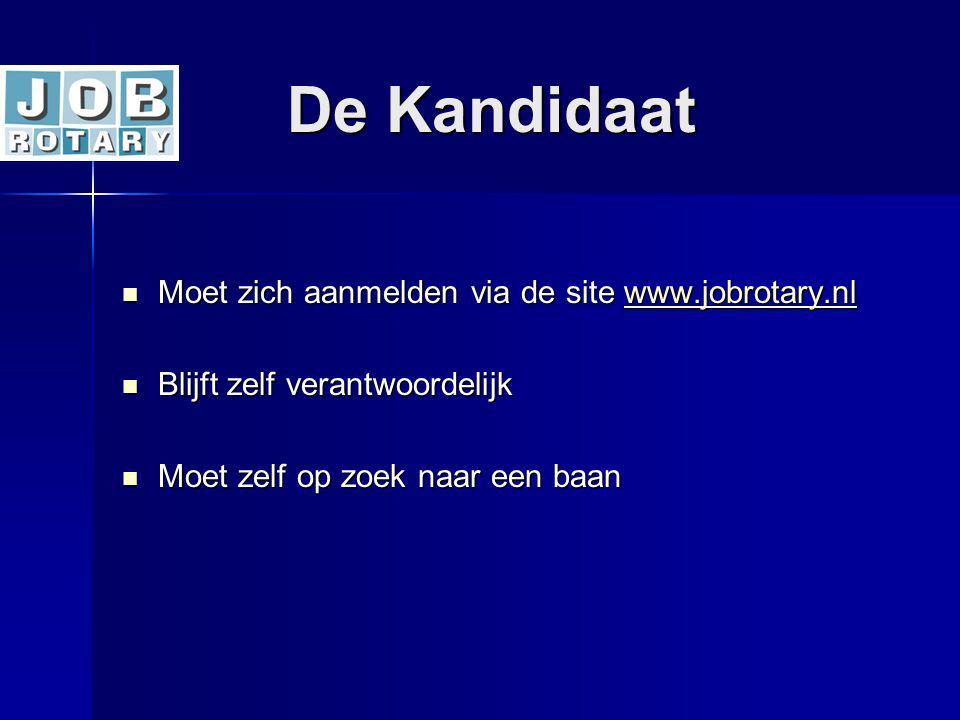 De Kandidaat De Kandidaat Moet zich aanmelden via de site www.jobrotary.nl Moet zich aanmelden via de site www.jobrotary.nlwww.jobrotary.nl Blijft zel