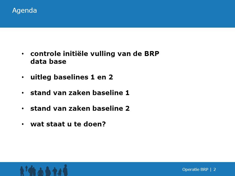 Operatie BRP |2 controle initiële vulling van de BRP data base uitleg baselines 1 en 2 stand van zaken baseline 1 stand van zaken baseline 2 wat staat