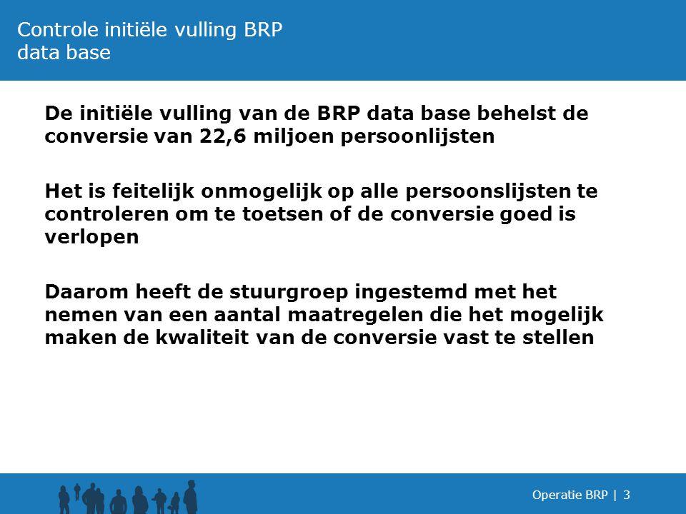 De initiële vulling van de BRP data base behelst de conversie van 22,6 miljoen persoonlijsten Het is feitelijk onmogelijk op alle persoonslijsten te c