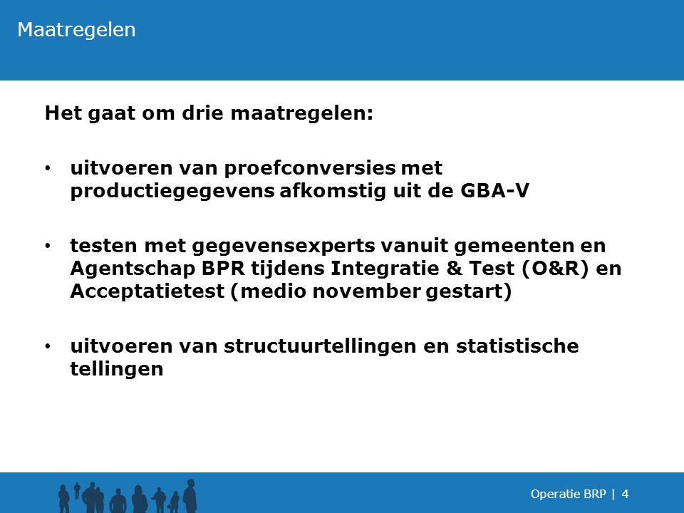 Het gaat om drie maatregelen: uitvoeren van proefconversies met productiegegevens afkomstig uit de GBA-V testen met gegevensexperts vanuit gemeenten e