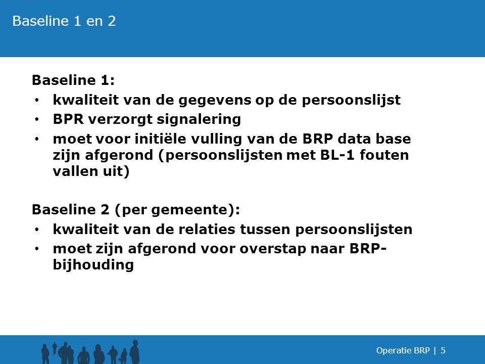 Baseline 1: kwaliteit van de gegevens op de persoonslijst BPR verzorgt signalering moet voor initiële vulling van de BRP data base zijn afgerond (pers
