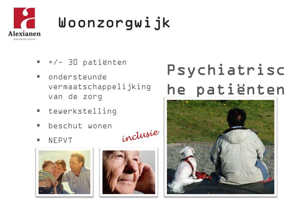 Woonzorgwijk Psychiatrisc he patiënten  +/- 30 patiënten  ondersteunde vermaatschappelijking van de zorg  tewerkstelling  beschut wonen  NEPVT inclusie