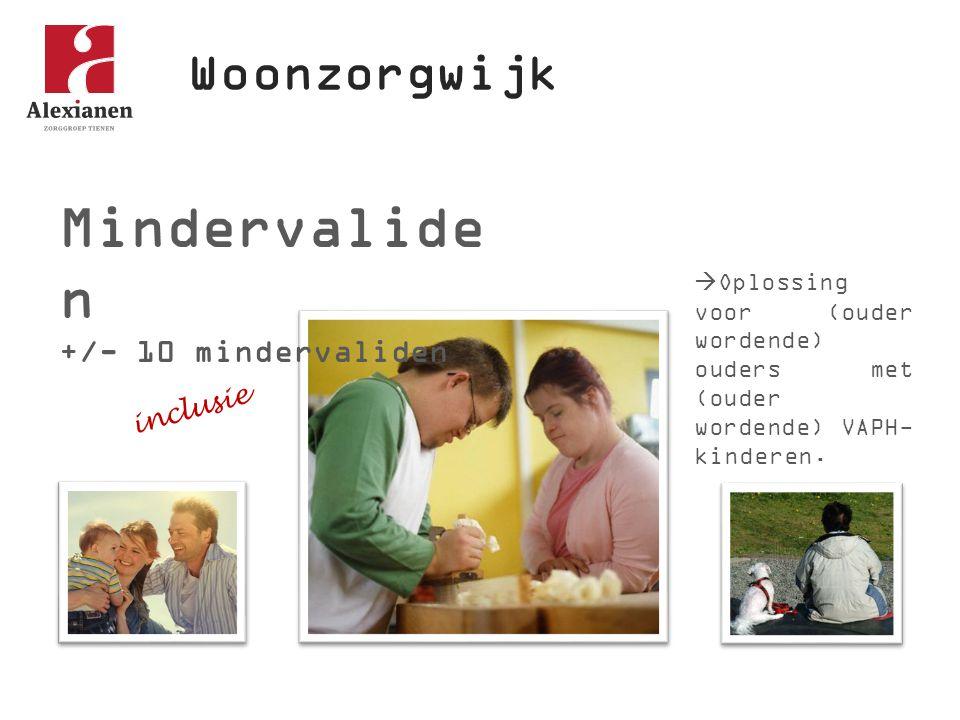 Woonzorgwijk Mindervalide n +/- 10 mindervaliden  Oplossing voor (ouder wordende) ouders met (ouder wordende) VAPH- kinderen. inclusie