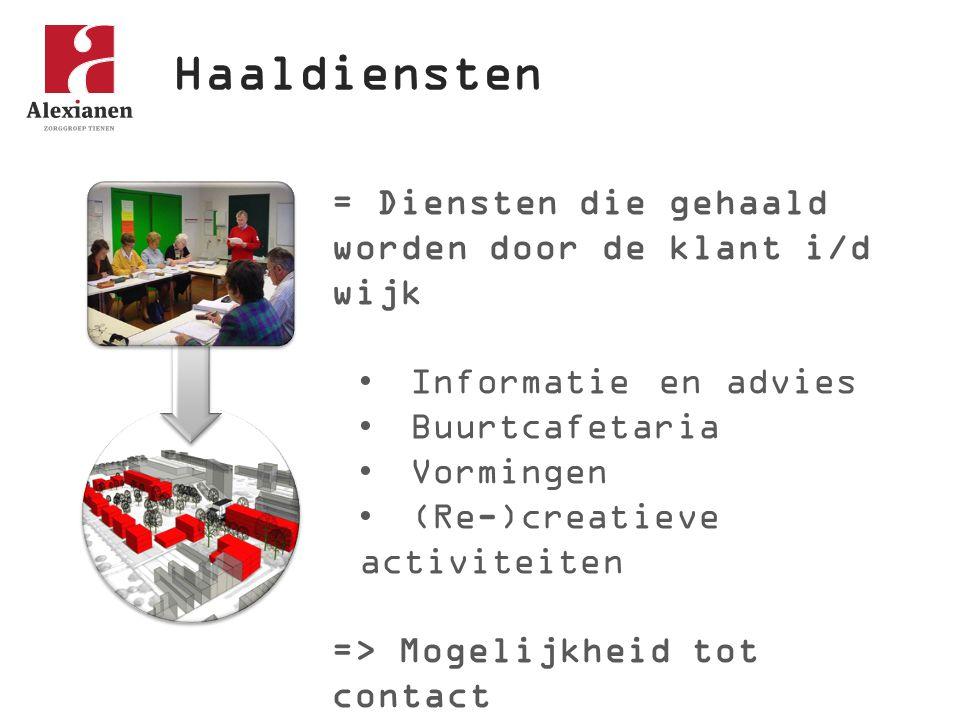 Haaldiensten = Diensten die gehaald worden door de klant i/d wijk Informatie en advies Buurtcafetaria Vormingen (Re-)creatieve activiteiten => Mogelijkheid tot contact