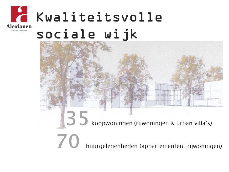 Kwaliteitsvolle sociale wijk autoluwe, veilige omgeving kwaliteitsvolle architectuur wonen in een park centrale ligging faciliteiten voor kinderopvang toegang tot diensten van de woonzorgzone Gezinnen