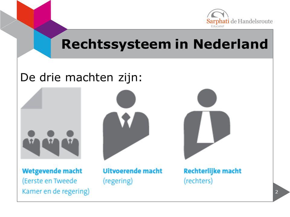De drie machten zijn: 2 Rechtssysteem in Nederland