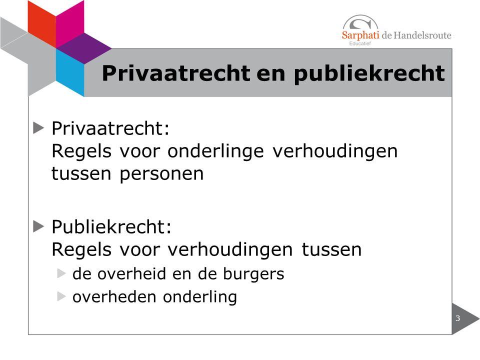Privaatrecht: Regels voor onderlinge verhoudingen tussen personen Publiekrecht: Regels voor verhoudingen tussen de overheid en de burgers overheden on