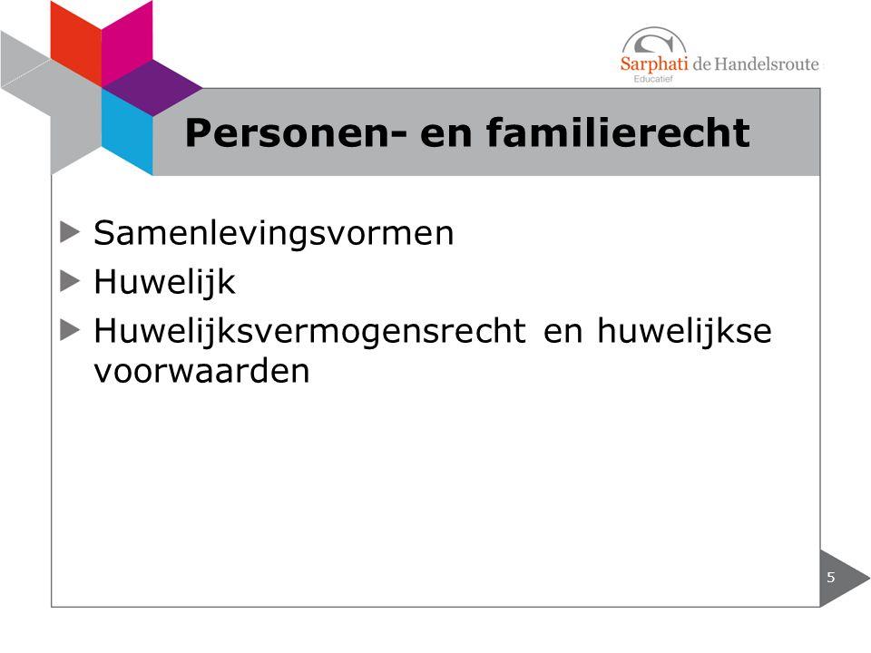 Samenlevingsvormen Huwelijk Huwelijksvermogensrecht en huwelijkse voorwaarden 5 Personen- en familierecht