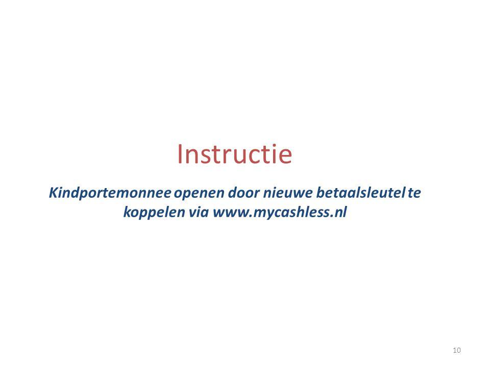 10 Instructie Kindportemonnee openen door nieuwe betaalsleutel te koppelen via www.mycashless.nl