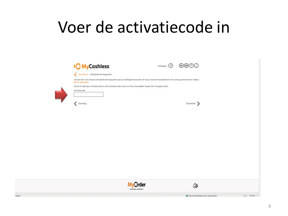Voer de activatiecode in 8