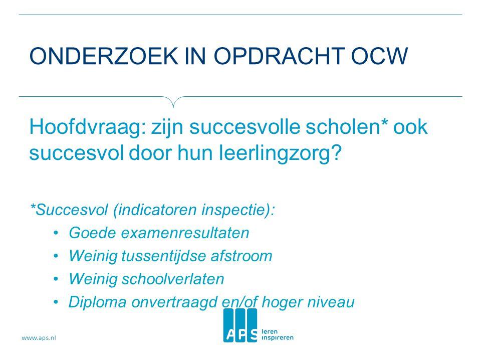 ONDERZOEK IN OPDRACHT OCW Hoofdvraag: zijn succesvolle scholen* ook succesvol door hun leerlingzorg.