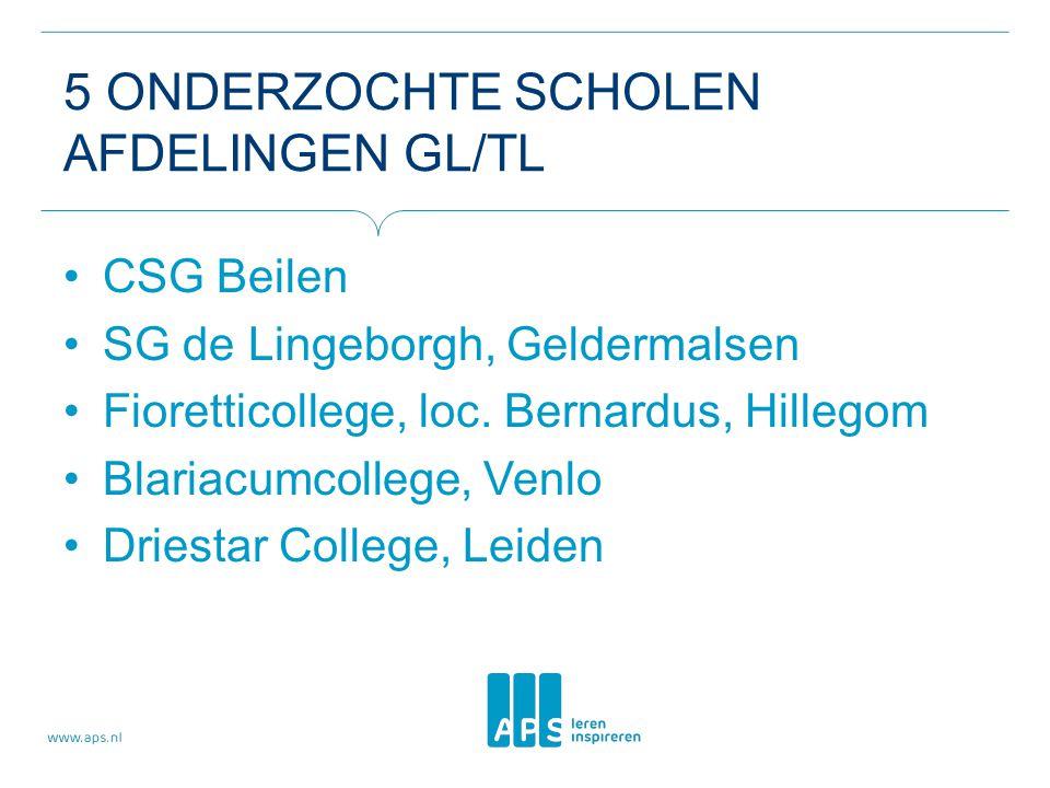 5 ONDERZOCHTE SCHOLEN AFDELINGEN GL/TL CSG Beilen SG de Lingeborgh, Geldermalsen Fioretticollege, loc.