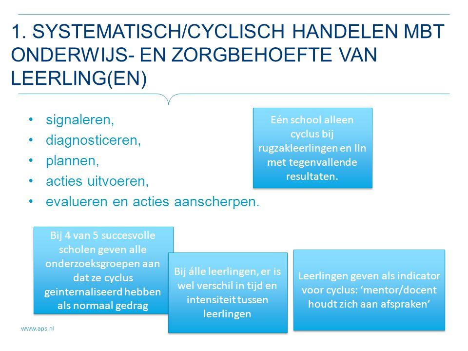 1. SYSTEMATISCH/CYCLISCH HANDELEN MBT ONDERWIJS- EN ZORGBEHOEFTE VAN LEERLING(EN) signaleren, diagnosticeren, plannen, acties uitvoeren, evalueren en