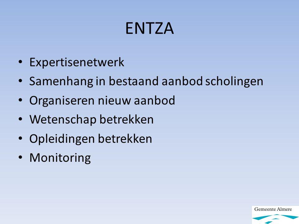 ENTZA Expertisenetwerk Samenhang in bestaand aanbod scholingen Organiseren nieuw aanbod Wetenschap betrekken Opleidingen betrekken Monitoring
