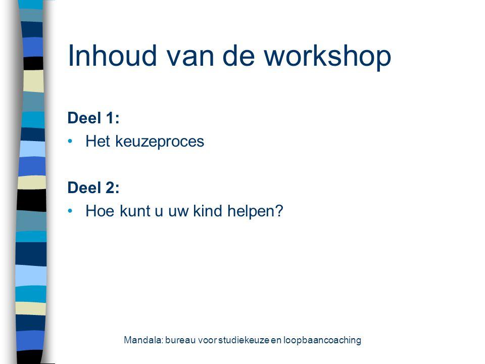 Inhoud van de workshop Deel 1: Het keuzeproces Deel 2: Hoe kunt u uw kind helpen? Mandala: bureau voor studiekeuze en loopbaancoaching