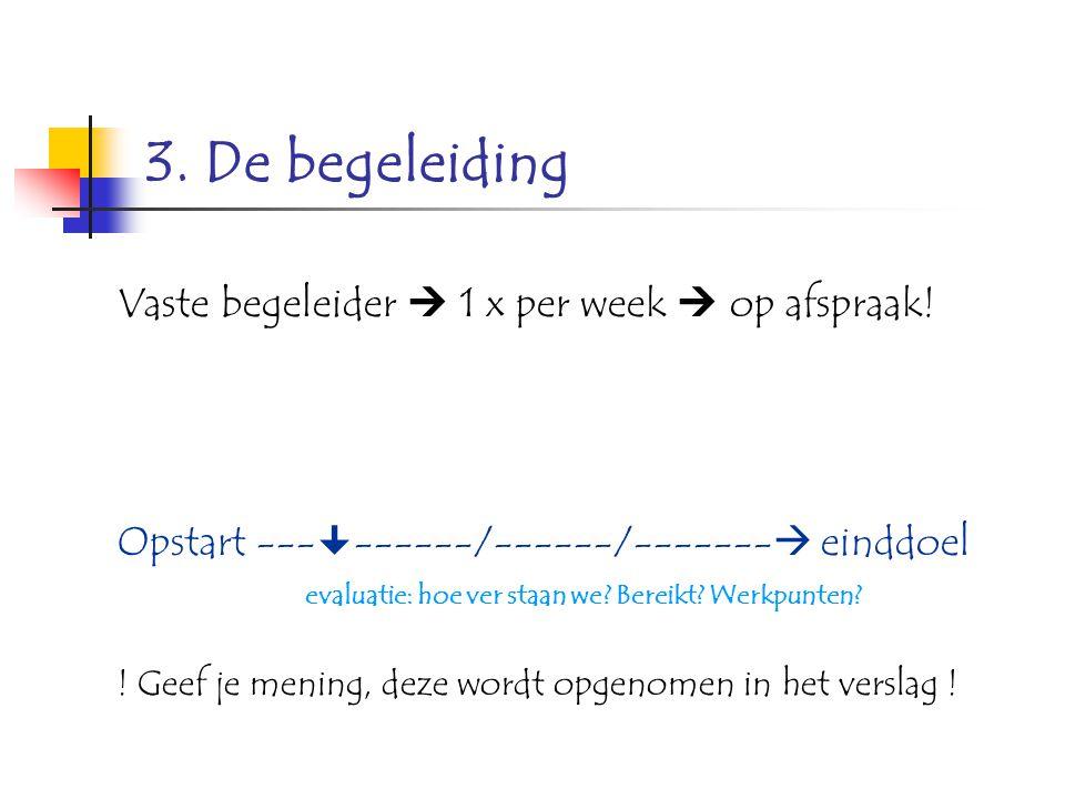 3. De begeleiding Vaste begeleider  1 x per week  op afspraak! Opstart ---  ------/------/-------  einddoel evaluatie: hoe ver staan we? Bereikt?
