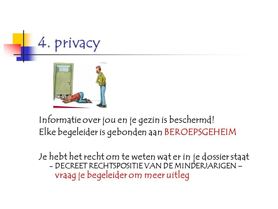 4. privacy Informatie over jou en je gezin is beschermd! Elke begeleider is gebonden aan BEROEPSGEHEIM Je hebt het recht om te weten wat er in je doss