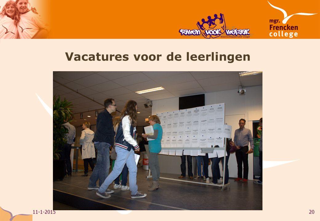 11-1-201520 Vacatures voor de leerlingen