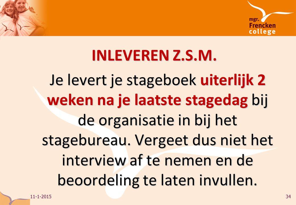 INLEVEREN Z.S.M.