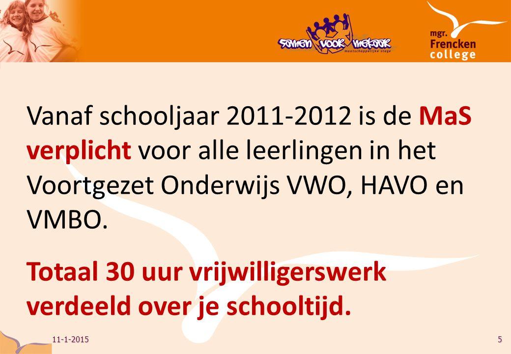11-1-20155 Vanaf schooljaar 2011-2012 is de MaS verplicht voor alle leerlingen in het Voortgezet Onderwijs VWO, HAVO en VMBO.