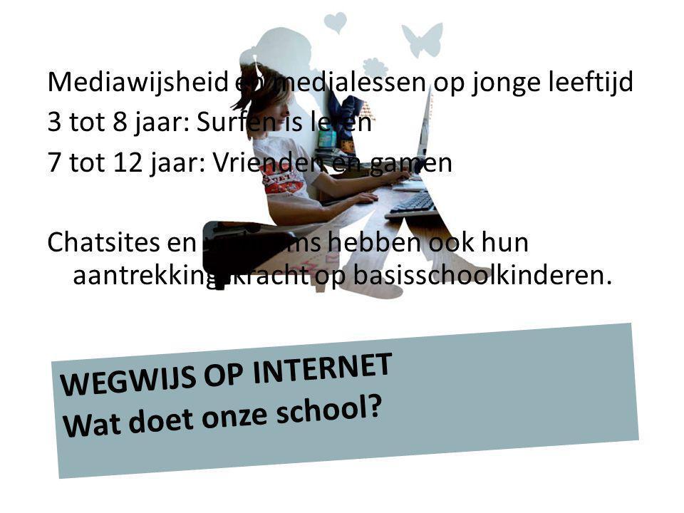 Mediawijsheid en medialessen op jonge leeftijd 3 tot 8 jaar: Surfen is leren 7 tot 12 jaar: Vrienden en gamen Chatsites en webcams hebben ook hun aant