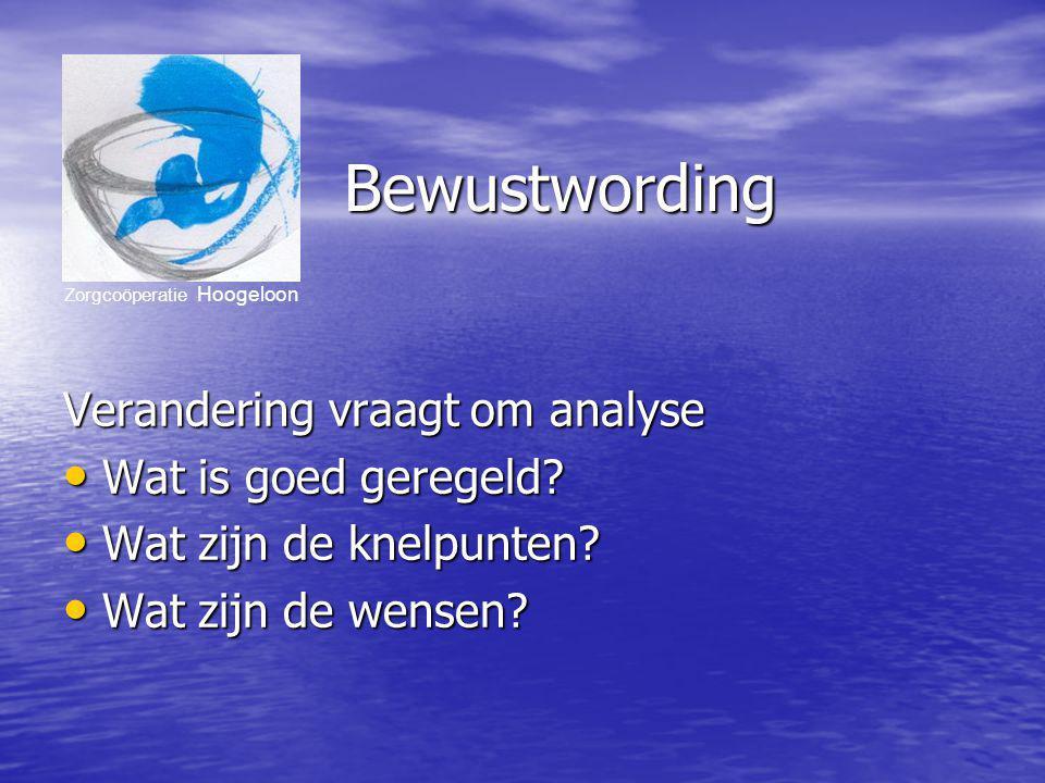 Zorgcoöperatie Hoogeloon Bewustwording Verandering vraagt om analyse Wat is goed geregeld.