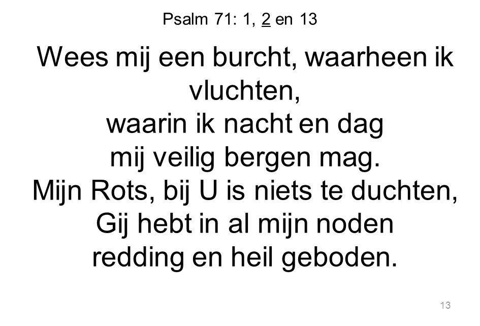 Psalm 71: 1, 2 en 13 Wees mij een burcht, waarheen ik vluchten, waarin ik nacht en dag mij veilig bergen mag.