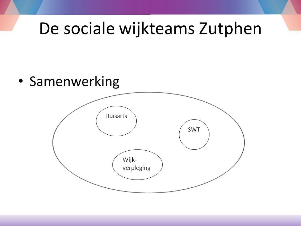 De sociale wijkteams Zutphen Verwijzing -Toegankelijk voor iedereen en alle vragen -Consultatie van teamgenoten met eigen T profiel -Bijschalen specialisten -Doorgeven aan gespecialiseerde organisaties