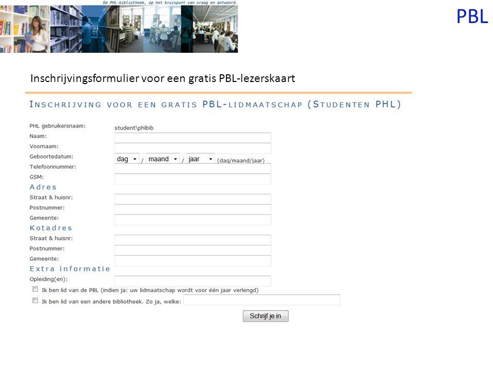 PBL Inschrijvingsformulier voor een gratis PBL-lezerskaart