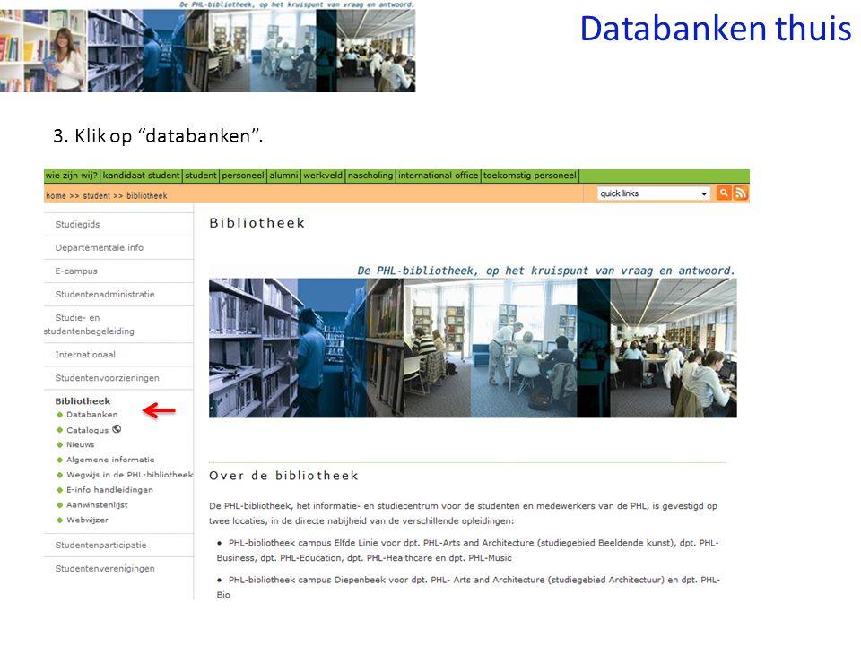 3. Klik op databanken . Databanken thuis