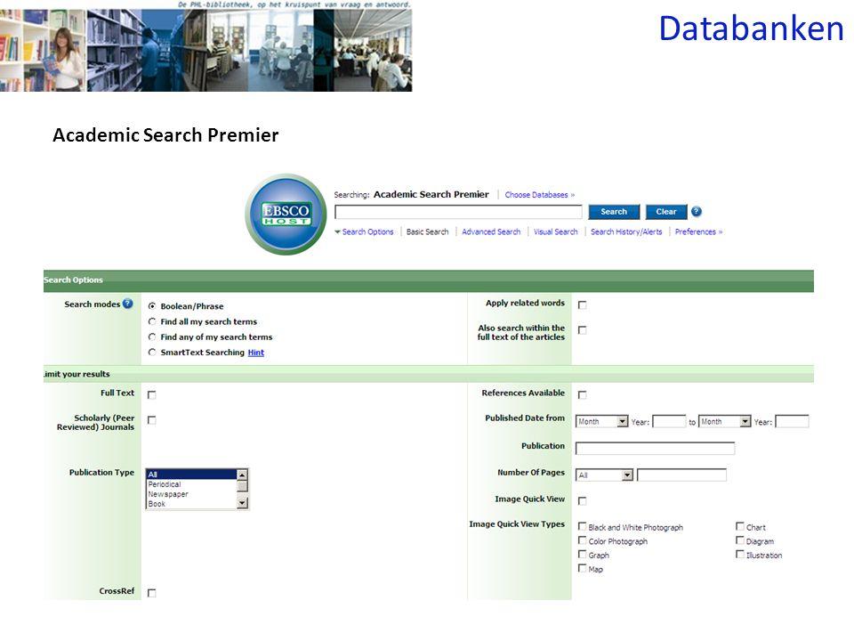 Academic Search Premier Databanken
