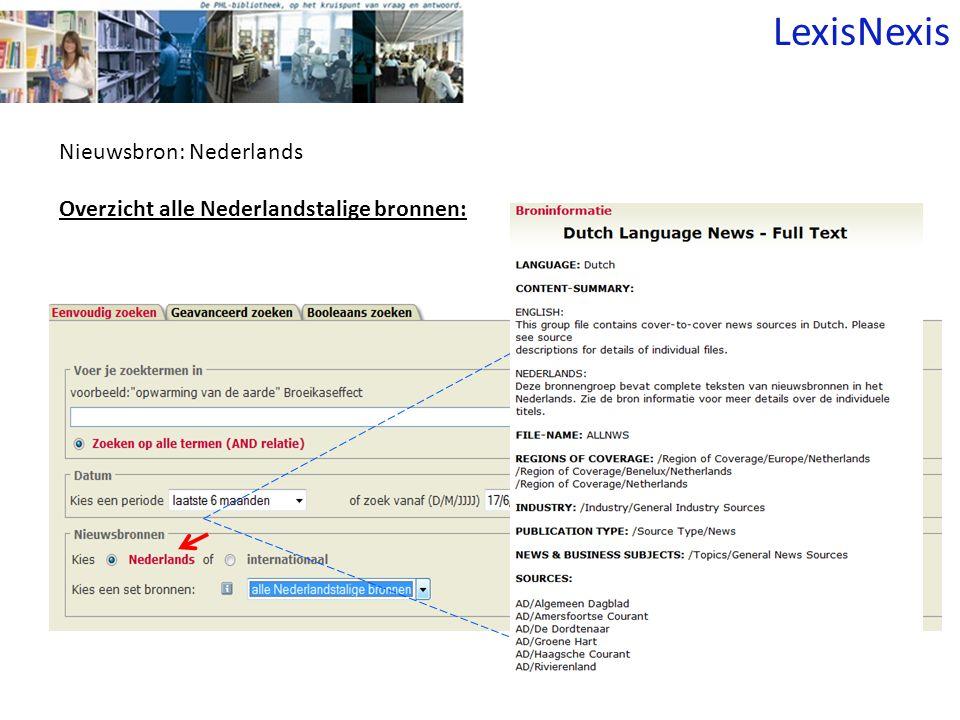 Nieuwsbron: Nederlands Overzicht alle Nederlandstalige bronnen: LexisNexis