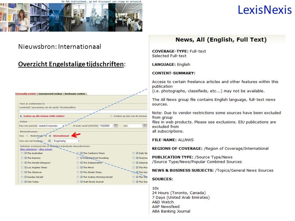 Nieuwsbron: Internationaal Overzicht Engelstalige tijdschriften: LexisNexis