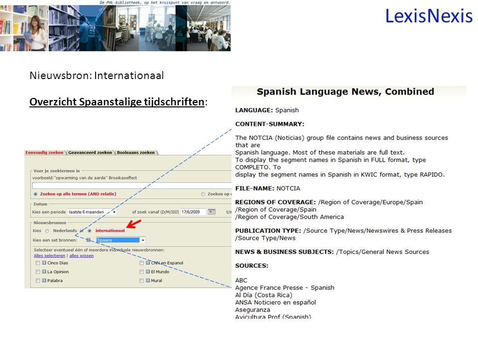 Nieuwsbron: Internationaal Overzicht Spaanstalige tijdschriften: LexisNexis