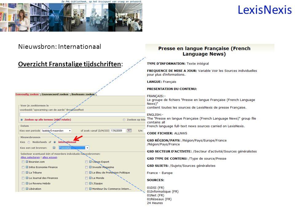Nieuwsbron: Internationaal Overzicht Franstalige tijdschriften: LexisNexis