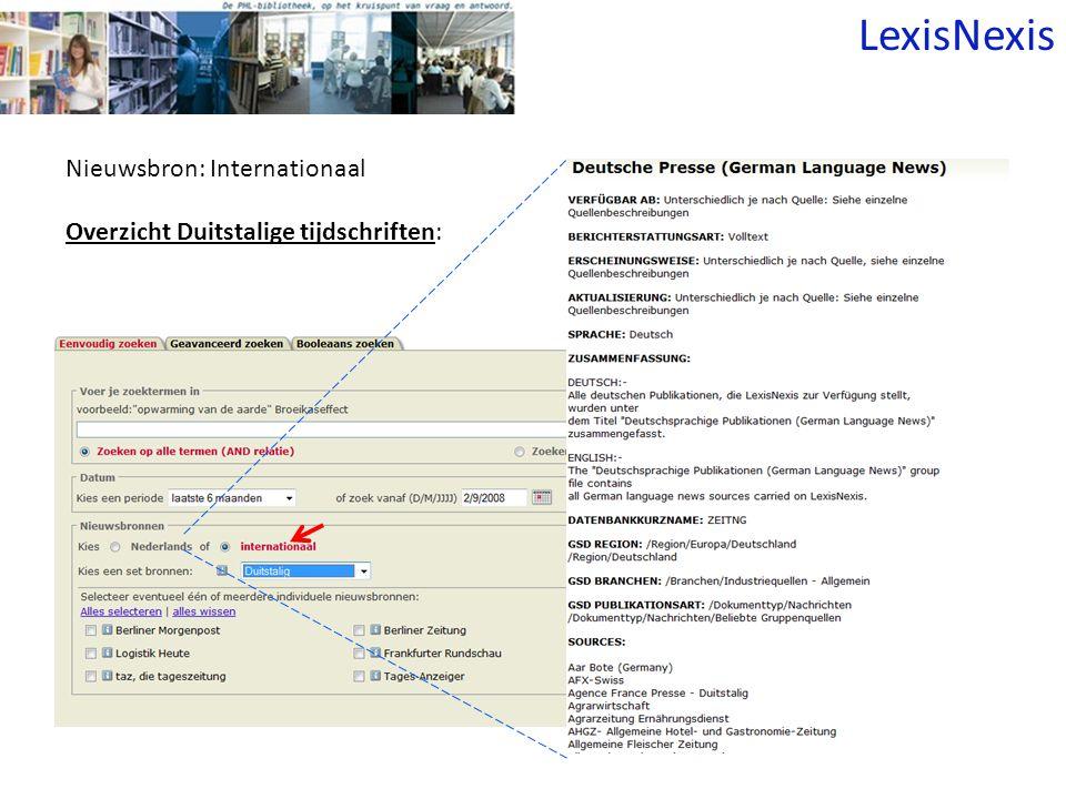Nieuwsbron: Internationaal Overzicht Duitstalige tijdschriften: LexisNexis