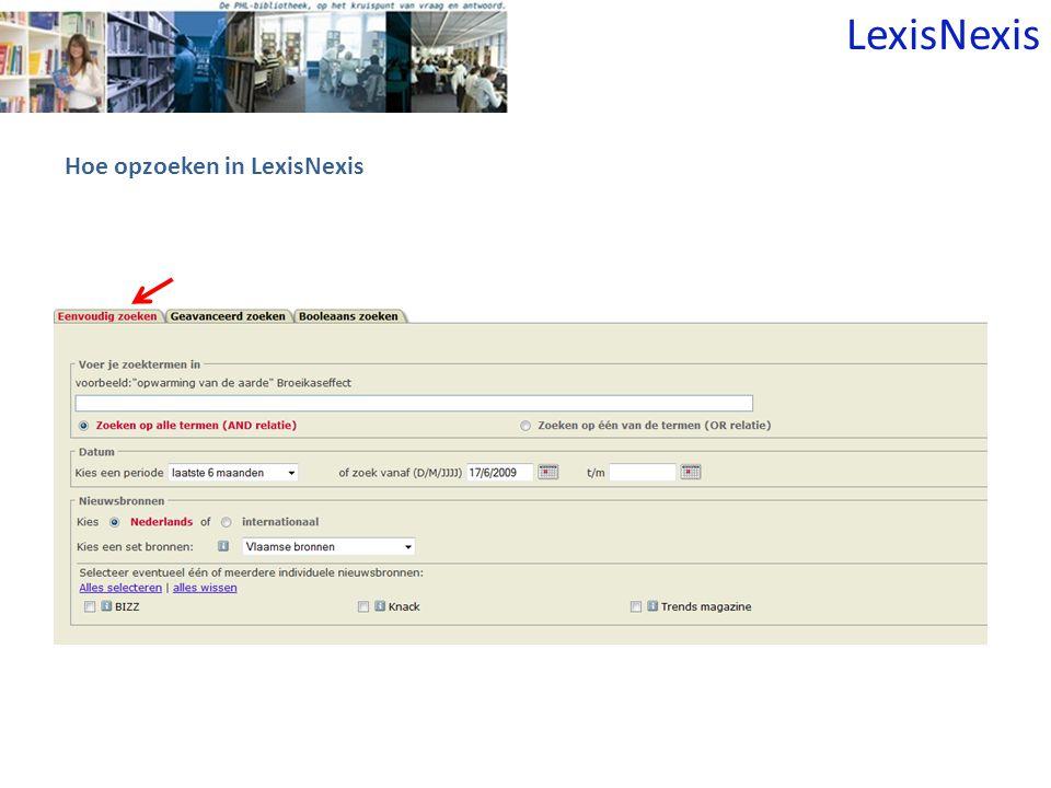 Hoe opzoeken in LexisNexis LexisNexis