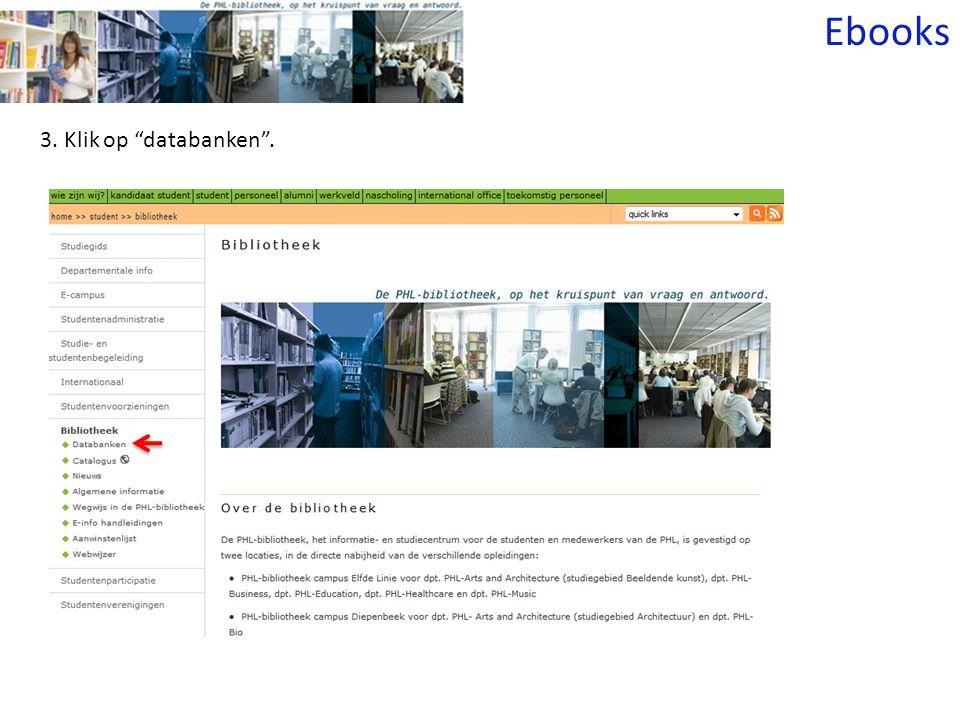 3. Klik op databanken . Ebooks
