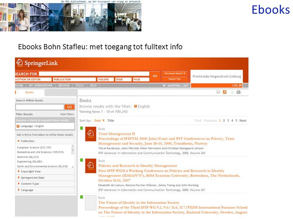 Ebooks Bohn Stafleu: met toegang tot fulltext info Ebooks