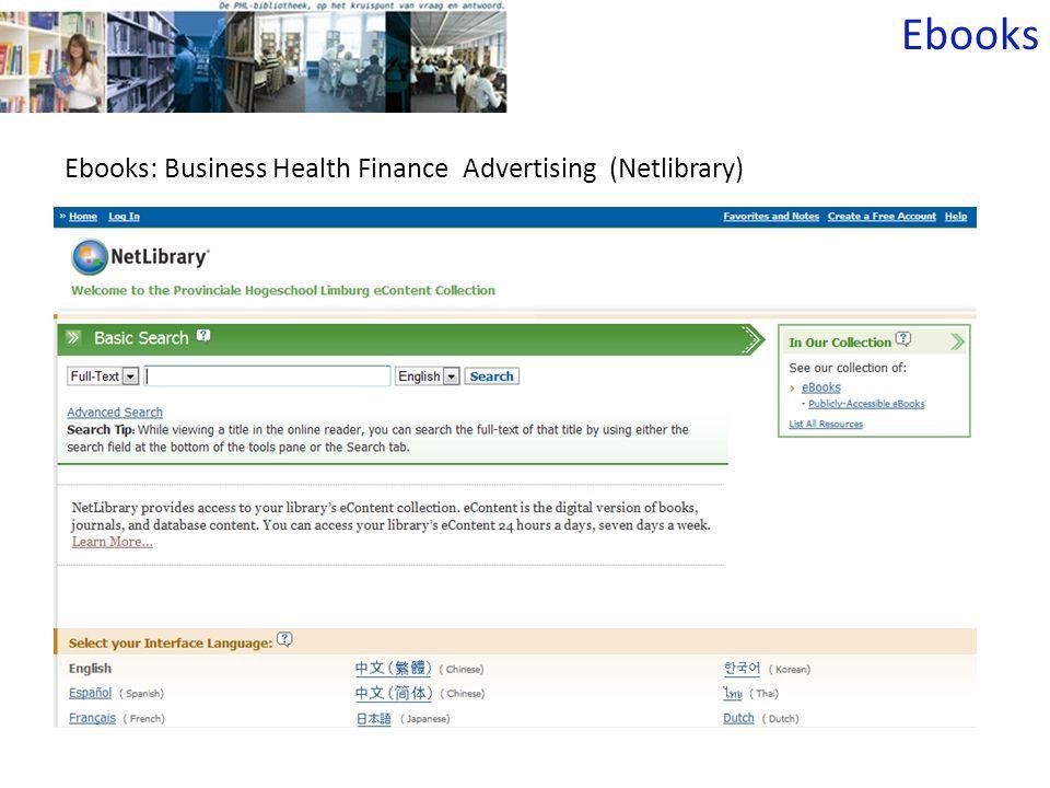Ebooks: Business Health Finance Advertising (Netlibrary) Ebooks