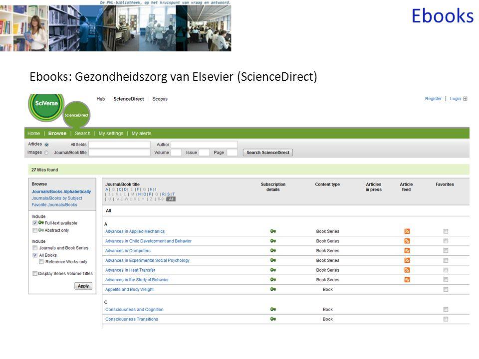 Ebooks: Gezondheidszorg van Elsevier (ScienceDirect) Ebooks