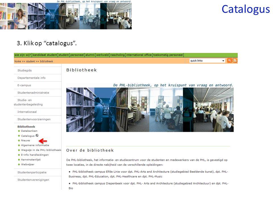 3. Klik op catalogus . Catalogus
