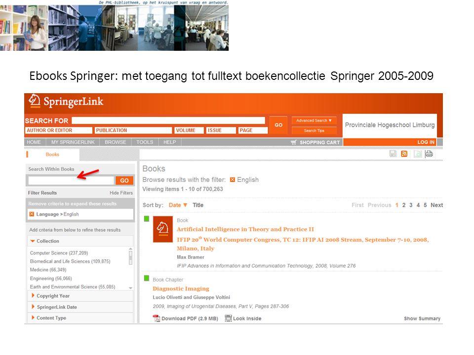 Ebooks Springer: m et toegang tot fulltext boekencollectie Springer 2005-2009