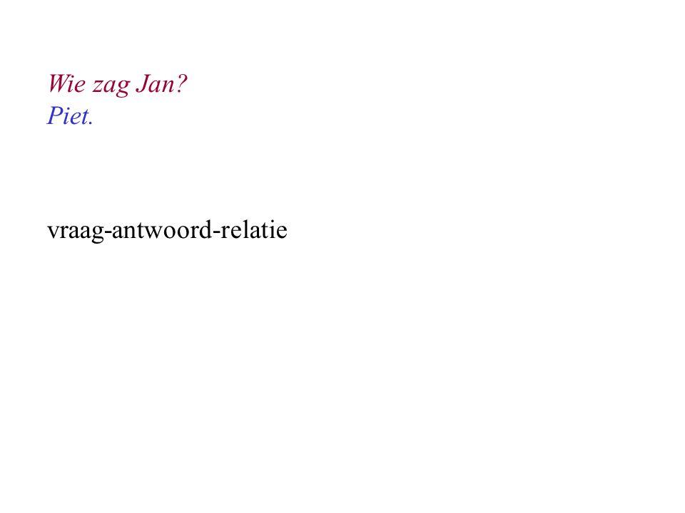 Wie zag Jan Piet. vraag-antwoord-relatie