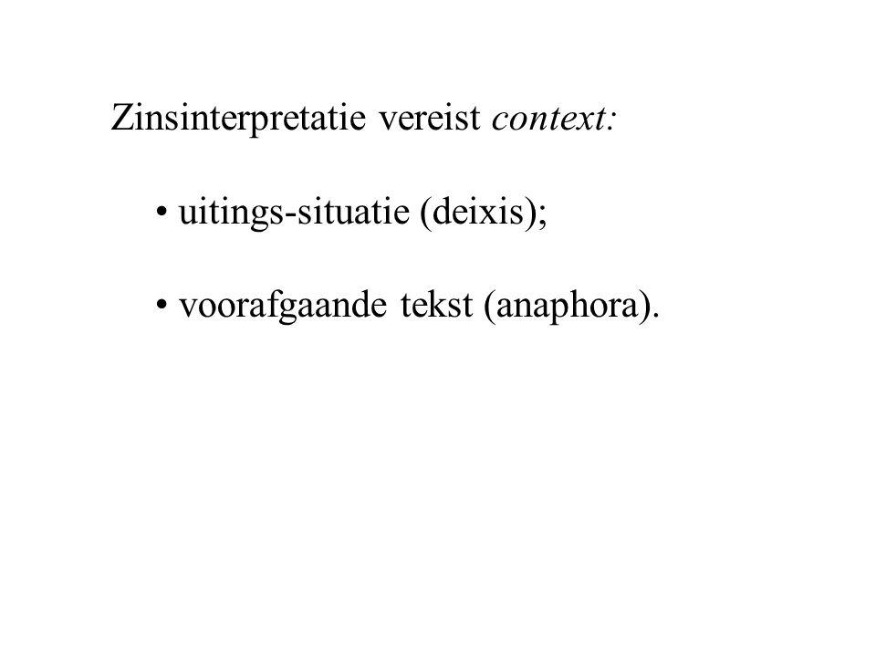 Zinsinterpretatie vereist context: uitings-situatie (deixis); voorafgaande tekst (anaphora).