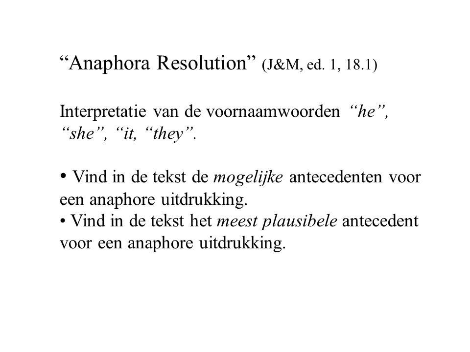 Anaphora Resolution (J&M, ed.