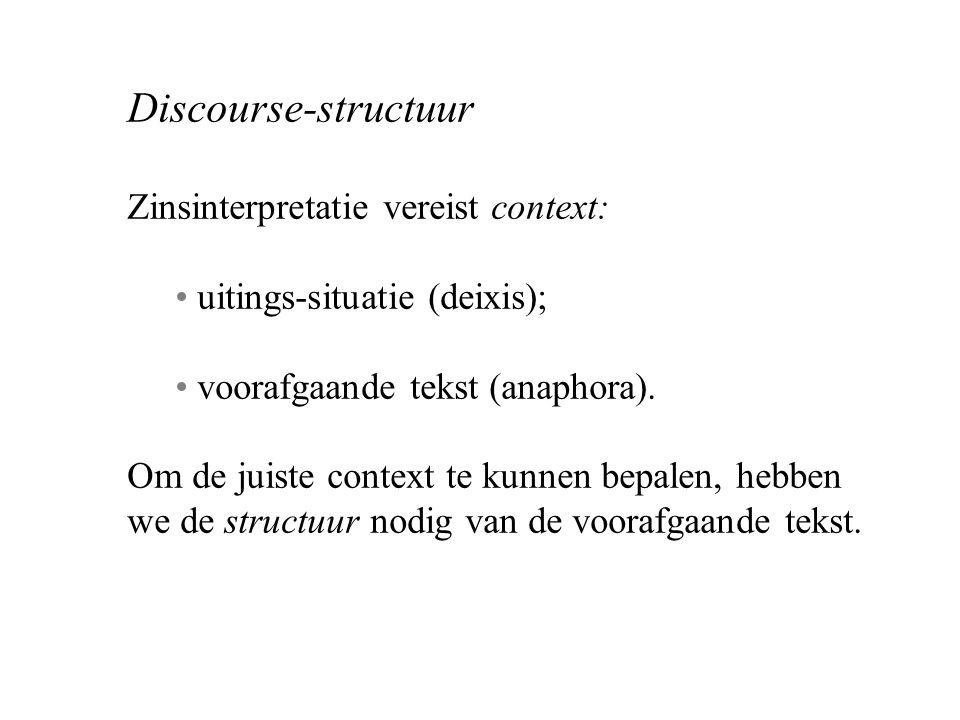 Discourse-structuur Zinsinterpretatie vereist context: uitings-situatie (deixis); voorafgaande tekst (anaphora).